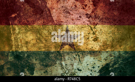 Very Grungy Vintage Ghanaian Flag, Ghana Grunge Background Texture - Stock Photo