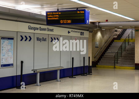 Glasgow, Scotland, UK - May 17, 2016: A platform display passenger information system indicates the next train to call at Glasgow Queen Street railway - Stock Photo