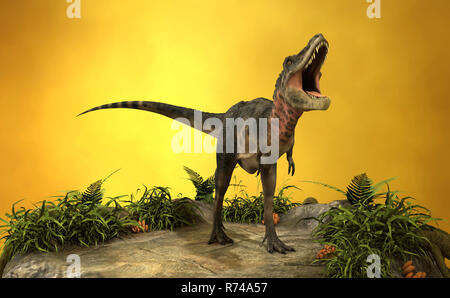 3D Rendering Dinosaur Tarbosaurus - Stock Photo