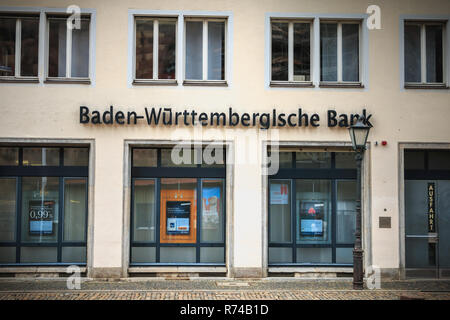 Freiburg im Breisgau, Germany - December 31, 2017: architectural detail of an agency of the German bank BW Bank on a winter day - Stock Photo