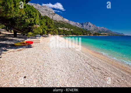 Idyllic beach Punta Rata in Brela view - Stock Photo