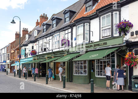 Shops in Saturday Market, Beverley, East Riding of Yorkshire, England, United Kingdom - Stock Photo
