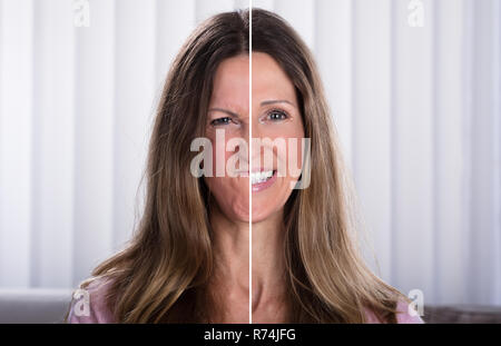 Woman's Split Face With Happy And Sad Emotion - Stock Photo