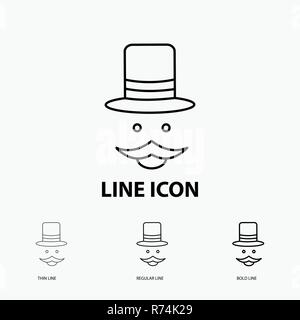 moustache, Hipster, movember, hat, men Icon in Thin, Regular and Bold Line Style. Vector illustration - Stock Photo