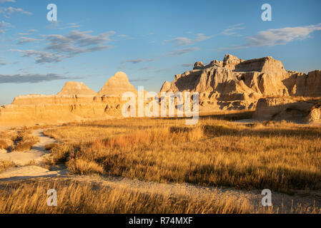 Badlands National Park, East end of Castle Trail, October, S. Dakota, USA, by Dominique Braud/Dembinsky Photo Assoc - Stock Photo