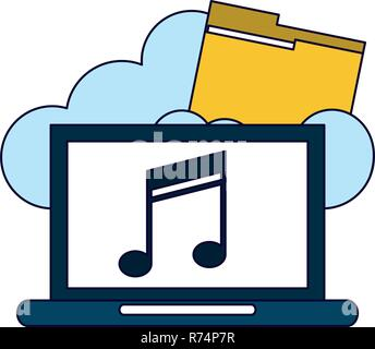 Computer with music on cloud computing - Stock Photo