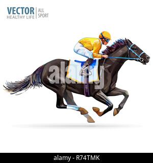 Jockey on racing horse. Champion. Hippodrome. Racetrack. Jump racetrack. Horse riding. Vector illustration. Derby. Isolated on white background - Stock Photo