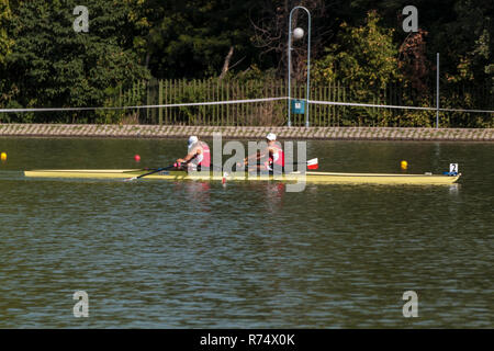 PLOVDIV, BULGARIA - JULY 26, 2015 - World rowing championship under 23 years old. Young men and women compeating in different rowing events. - Stock Photo