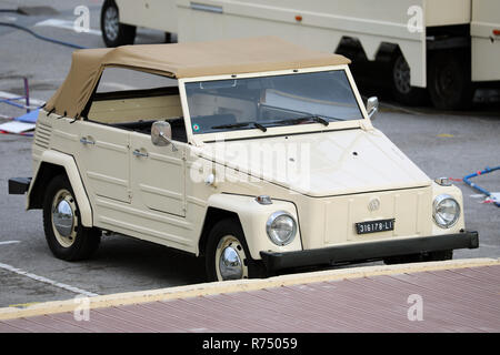 Menton, France - December 7, 2018:  Beautiful Vintage Volkswagen Thing 1973 (Front View) Car On French Riviera, Europe - Stock Photo