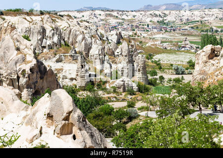 view of valley and Goreme town in Cappadocia - Stock Photo