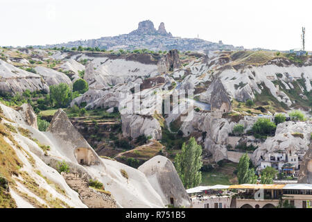Goreme town and Uchisar castle in Cappadocia