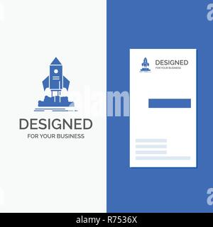 Business Logo for launch, startup, ship, shuttle, mission. Vertical Blue Business / Visiting Card template. - Stock Photo