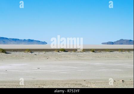 Looking out over the Utah Bonneville Salt Flats. - Stock Photo