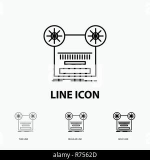 Record, recording, retro, tape, music Icon in Thin, Regular and Bold Line Style. Vector illustration - Stock Photo