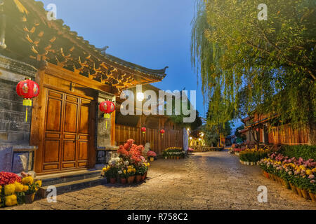 Serene Lijiang old town in the early morning before crowded tourist come - Stock Photo