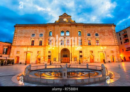 Matera, Basilicata, Italy: Night view of the Vittorio Veneto square - Stock Photo