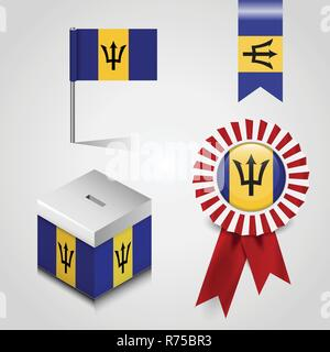 Barbados Country Flag place on Vote Box, Ribbon Badge Banner and map Pin - Stock Photo