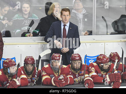 December 7, 2018 Denver head coach David Carle looks on during a NCAA men's college hockey game between the Denver Pioneers and the University of North Dakota Fighting Hawks at Ralph Engelstad Arena in Grand Forks, ND. North Dakota won 4-1. Photo by Russell Hons/CSM - Stock Photo