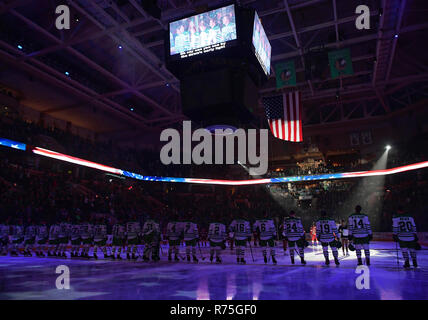 December 7, 2018 The national anthem is sung before a NCAA men's college hockey game between the Denver Pioneers and the University of North Dakota Fighting Hawks at Ralph Engelstad Arena in Grand Forks, ND. North Dakota won 4-1. Photo by Russell Hons/CSM - Stock Photo