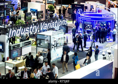 Hanover, Germany. 13th June, 2018. Visitors walking past the stand from the company Huawei at the digitalisation fair Cebit. After three decades, Cebit is trying a 'Festival' format comeback between the 11 and 15 of June. Credit: Hauke-Christian Dittrich/dpa | usage worldwide/dpa/Alamy Live News - Stock Photo