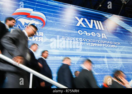 Russia. 08th Dec, 2018. MOSCOW REGION, RUSSIA - DECEMBER 8, 2018: A plenary meeting at the 18th congress of the United Russia Party at the Crocus Expo Centre. Stanislav Krasilnikov/TASS Credit: ITAR-TASS News Agency/Alamy Live News - Stock Photo