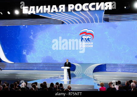 Russia. 08th Dec, 2018. MOSCOW REGION, RUSSIA - DECEMBER 8, 2018: Russia's President Vladimir Putin makes remarks at a plenary meeting at the 18th congress of the United Russia Party at the Crocus Expo Centre. Mikhail Metzel/TASS Credit: ITAR-TASS News Agency/Alamy Live News - Stock Photo