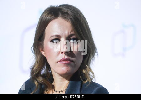 Moscow, Russia. 08th Dec, 2018. MOSCOW, RUSSIA - DECEMBER 8, 2018: Journalist Ksenia Sobchak attends a discussion at the 6th All-Russian Civil Forum in Moscow's World Trade Centre. Sergei Fadeichev/TASS Credit: ITAR-TASS News Agency/Alamy Live News - Stock Photo