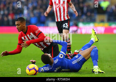 Southampton, UK. 8th December 2018. Yan Valery of Southampton and Josh Murphy of Cardiff City during the Premier League match between Cardiff City and Southampton at the Cardiff City Stadium, Cardiff, Wales on 8 December 2018. Photo by Dave Peters.  Editorial use only, license required for commercial use. No use in betting, games or a single club/league/player publications. Credit: UK Sports Pics Ltd/Alamy Live News - Stock Photo