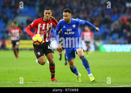 Southampton, UK. 8th December 2018. Josh Murphy of Cardiff City and Yan Valery of Southampton during the Premier League match between Cardiff City and Southampton at the Cardiff City Stadium, Cardiff, Wales on 8 December 2018. Photo by Dave Peters.  Editorial use only, license required for commercial use. No use in betting, games or a single club/league/player publications. Credit: UK Sports Pics Ltd/Alamy Live News - Stock Photo