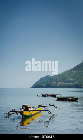 coast beach and boat near dili in east timor leste - Stock Photo