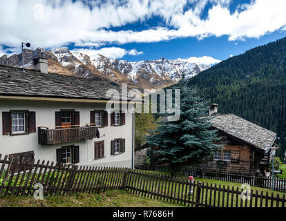 traditional swiss alps houses in vals village alpine switzerland - Stock Photo