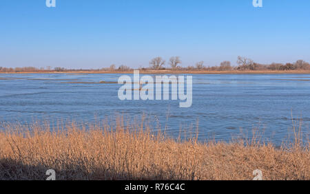 Western River in Early Morning during Crane Migration - Stock Photo