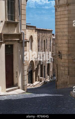 Narrow streets of the old town, Baku, Azerbaijan - Stock Photo