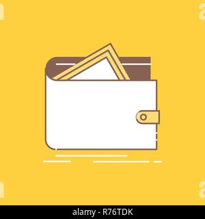 Cash, finance, money, personal, purse Flat Line Filled Icon. Beautiful Logo button over yellow background for UI and UX, website or mobile application - Stock Photo