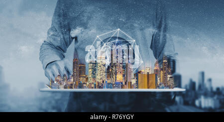 Networking technology, augmented reality and smart city and technology. Element of this image are furnished by NASA - Stock Photo
