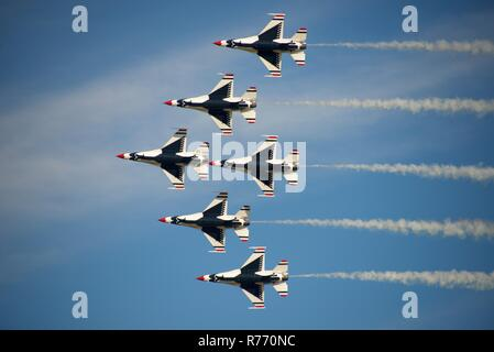 US Air Force Thunderbirds Perform at Wings over Houston Airshow - Stock Photo