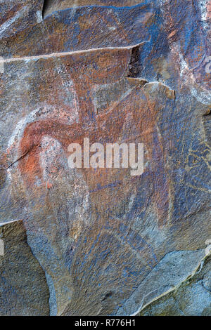Rock painting in a ceremonial cave, Ana Kai Tangata, Hanga Roa, Rapa Nui National Park, Unesco World Heritage Site - Stock Photo