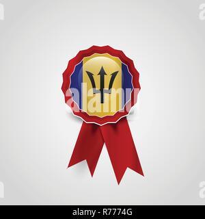 Barbados Flag Ribbon Banner Badge - Stock Photo