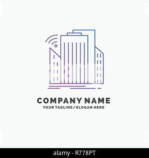 Buildings, city, sensor, smart, urban Purple Business Logo Template. Place for Tagline - Stock Photo