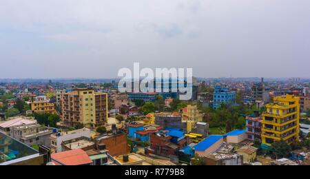 Panorama view over Kathmandu city from Swayambhunath temple complex, Nepal. - Stock Photo