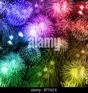 New Year's Eve fireworks background years year square colorful firework backgrounds - Stock Photo