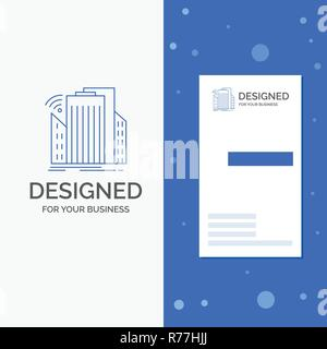 Business Logo for Buildings, city, sensor, smart, urban. Vertical Blue Business / Visiting Card template - Stock Photo