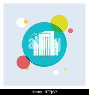 Buildings, city, sensor, smart, urban White Glyph Icon colorful Circle Background - Stock Photo