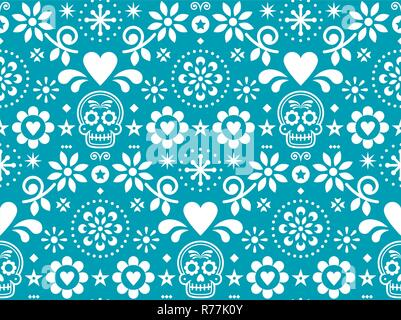 Sugar skull vector seamless pattern inspired by Mexican folk art, Dia de Los Muertos repetitive design in white on turquoise background - Stock Photo