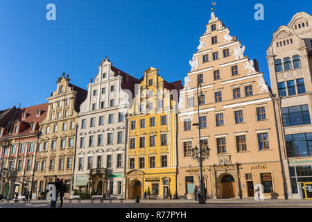 Wroclaw, Poland - December 10, 2017: Market square tenements in city center of Wroclaw, Poland - Stock Photo