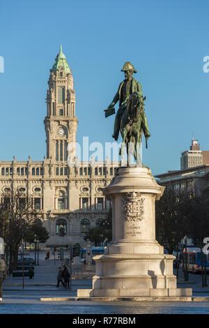 Statue of King Dom Pedro VI on the Praca da Liberdade in the historic centre of Porto, Portugal - Stock Photo