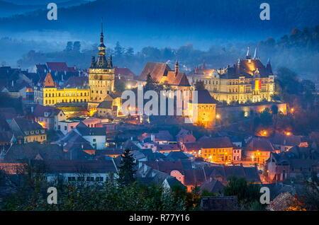 Sighisoara at evening time, Transylvania, Romania, UNESCO