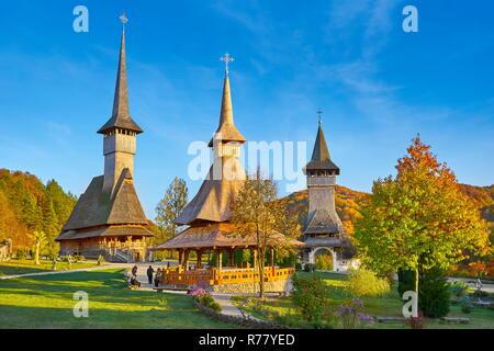 Wooden church, Barsana Monastery, Maramures, Romania, UNESCO - Stock Photo