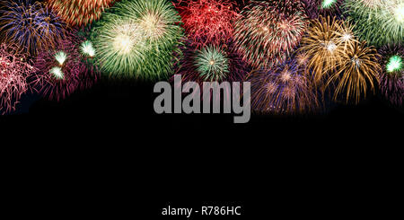 New Year's Eve fireworks background copyspace copy space banner years year firework backgrounds - Stock Photo