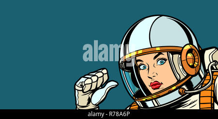 astronaut woman fist hand pointing at herself - Stock Photo